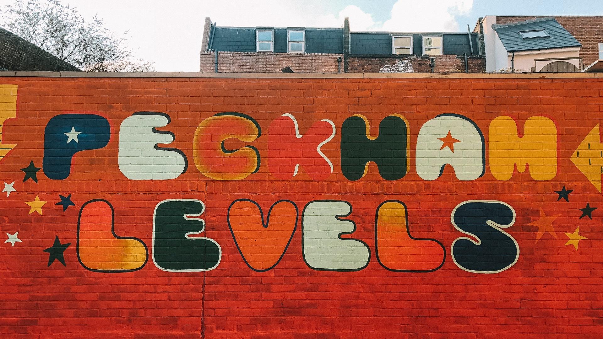 Peckham Levels written on red brick wall
