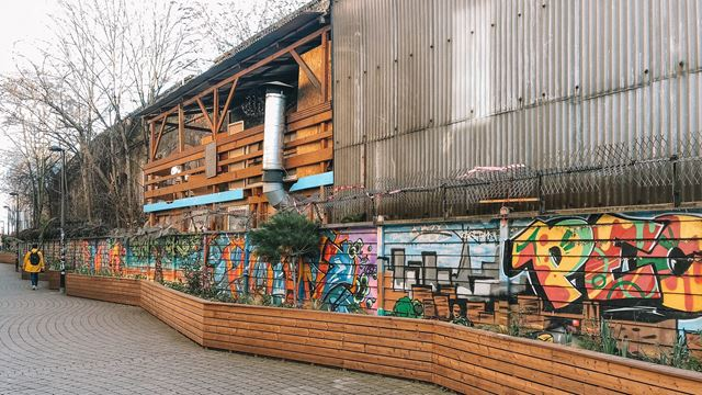 street art in Peckham by corrugated iron building