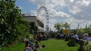 People relaxing on the grass on a bright day at Queen Elizabeth Hall Roof Garden, with the London Eye in the background.