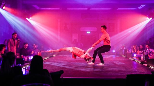 Acrobats on stage