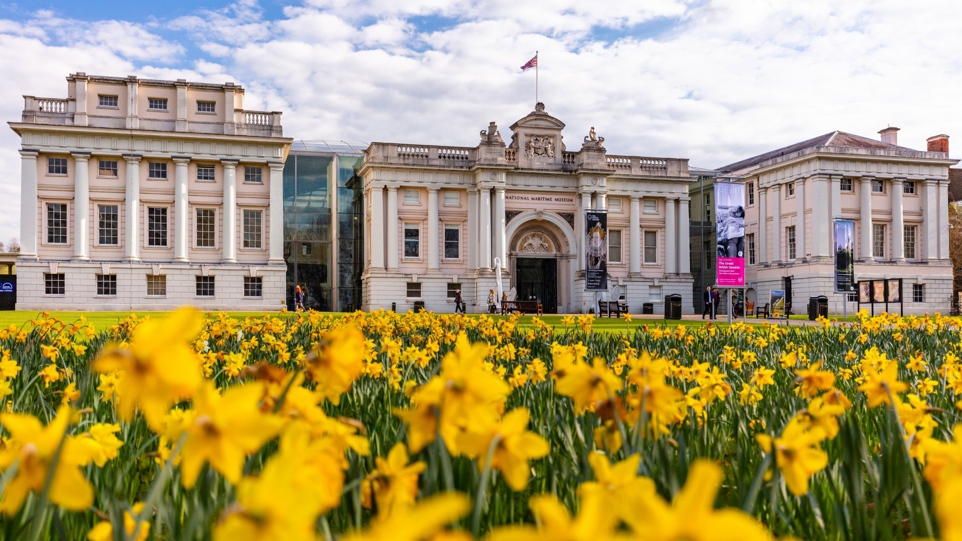 Daffodils bloom outside of the National Maritime Museum in Greenwich