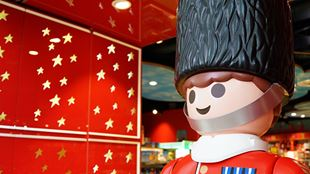 A giant toy soldier stands in Hamleys toy shop.
