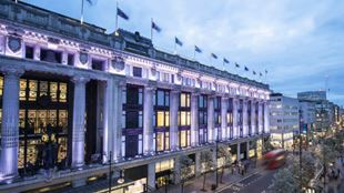 Exterior shot of Selfridges on Oxford Street.