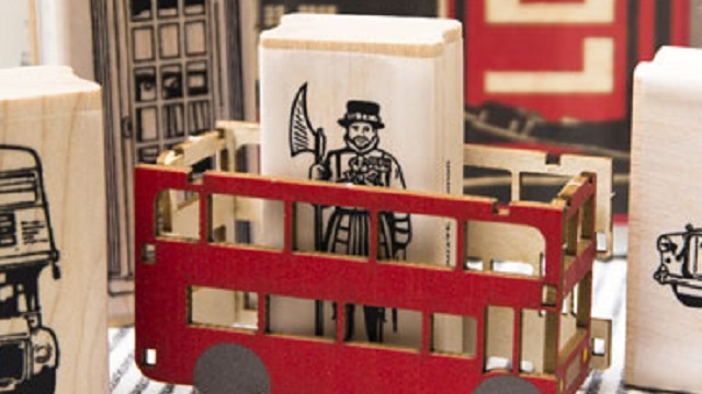 Beefeater rubber stamp in a London shop display