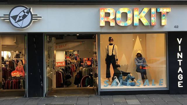 window display of Rokit vintage clothing shop