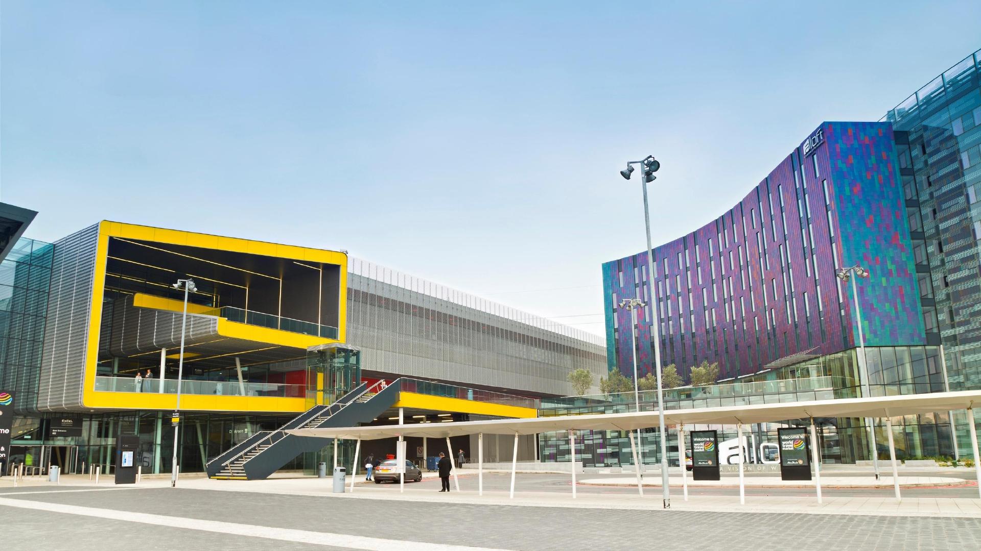 Colourful ExCel centre buildings.