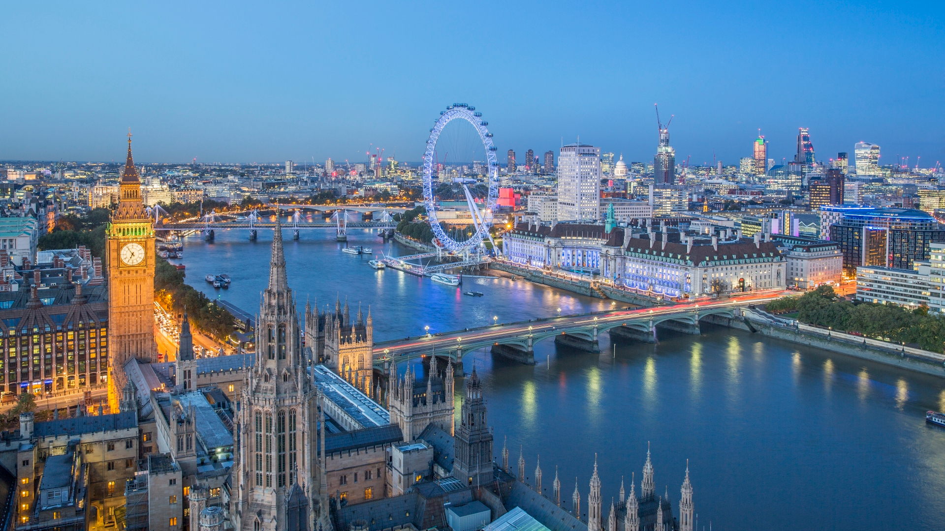 London skyline, river Thames, London Eye, Big Ben.