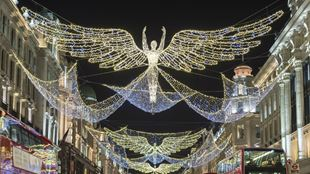 Angel-shaped Christmas lights on Regent Street in London.