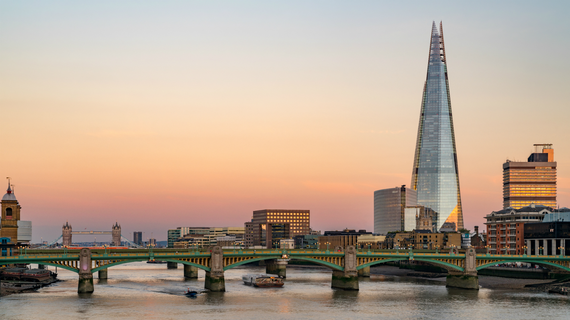 Sunset over the Thames with the Shard in the background.