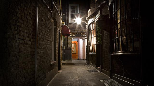 Dark alleyway that's part of the Jack the Ripper Walking Tour.