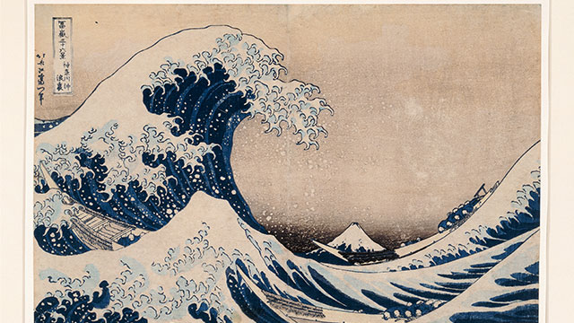 A print work Under the Wave off Kanagawa, by Japanese artist Katsushika Hokusai, featured in the exhibition, Hokusai: The Great Picture Book of Everything.