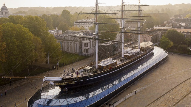View from above of the Cutty Sark ship in Greenwich.