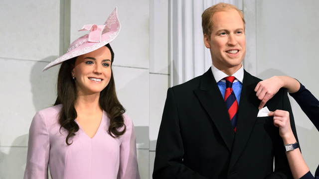 Wax figures of the Duchess of Cambridge and Prince William