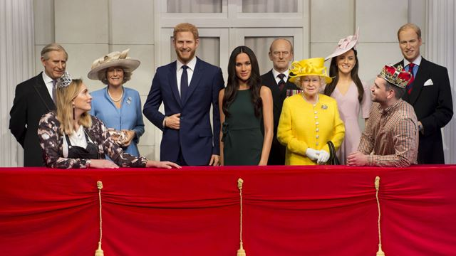 The Royal Balcony at Madame Tussauds featuring wax figures of the royal family. Image courtesy of Madame Tussauds.