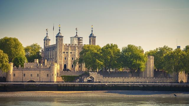 Tower of London viewed from the river Thames.