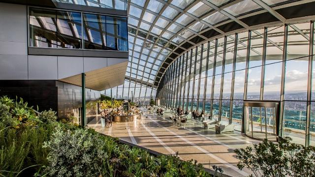 The Sky Pod Bar inside the Sky Garden at 20 Fenchurch Street. Image courtesy of Sky Garden.