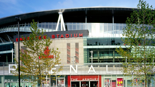 The exterior of the Emirates Stadium on a sunny day