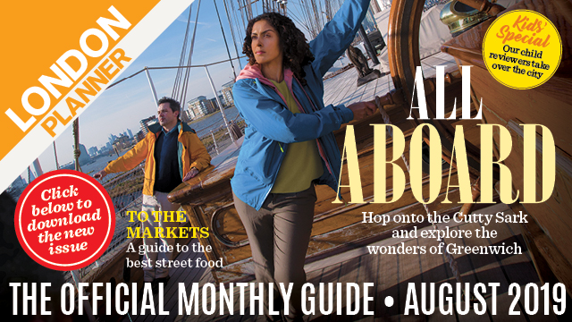 Banner for London Planner featuring woman aboard a ship and text reading all aboard.