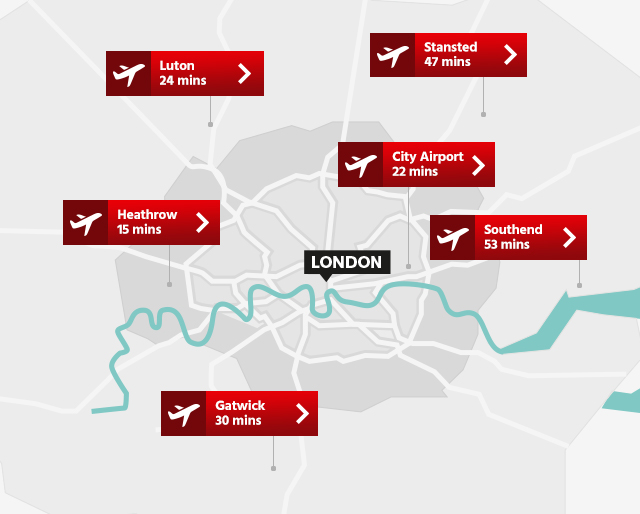 Express train times from London airports to central London in minutes. Heathrow - 15. Gatwick - 30. Luton - 24. Stansted - 47. City - 22. Southend - 53.