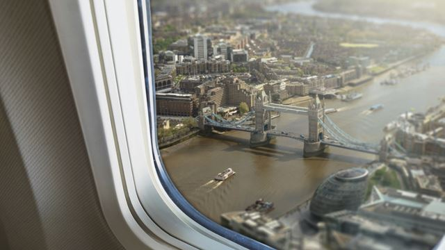 The view of Tower Bridge from a plane while flying into London.