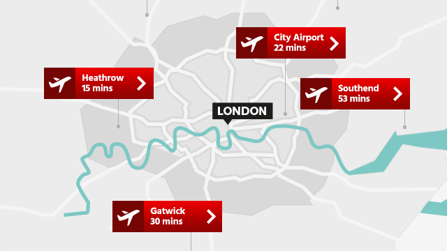 Map of London airports showing travel time to central London