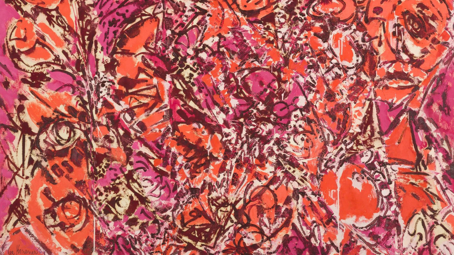 Bright orange and pink abstract painting by Lee Krasner as part of Lee Krasner: Living Colour exhibition at the Barbican