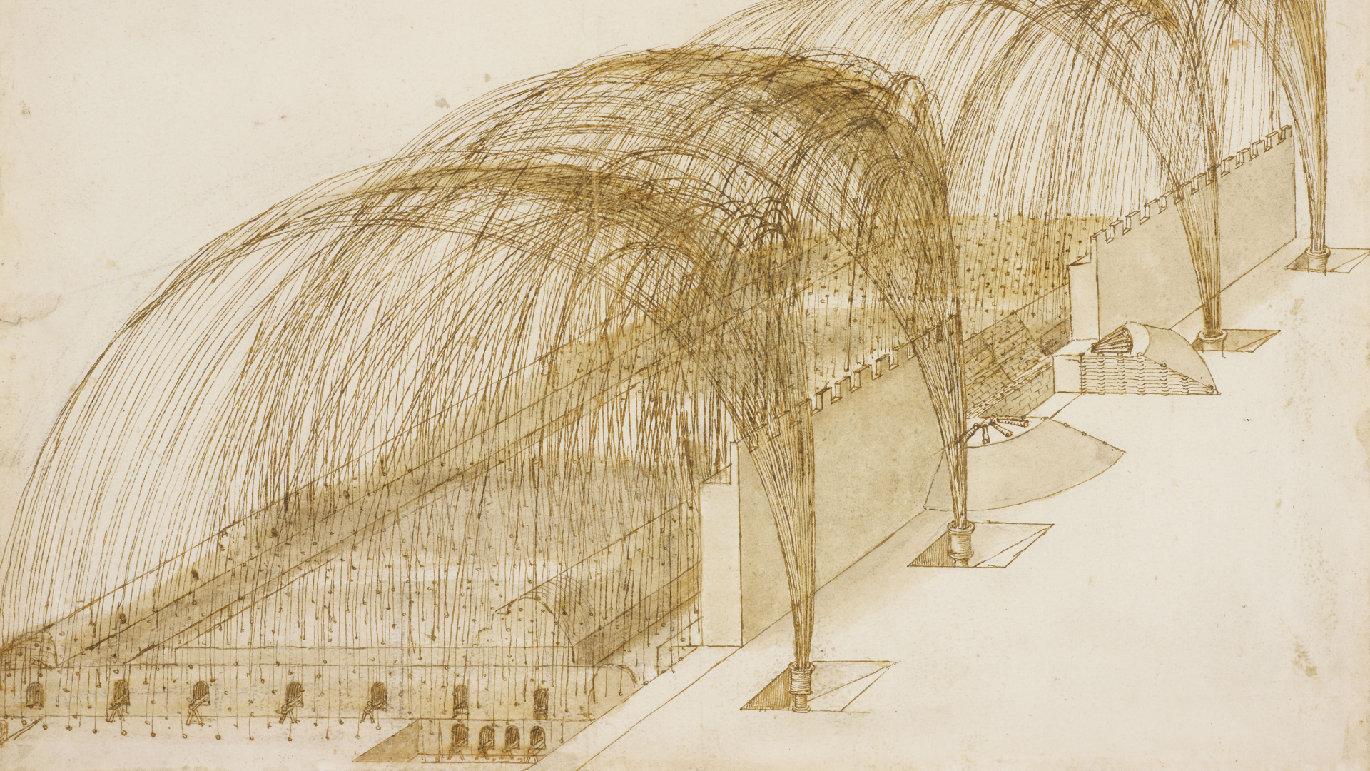 Drawing of mortars firing into a fortress as part of Leonardo da Vinci: A Life in Drawing exhibition at The Queen's Gallery, Buckingham Palace