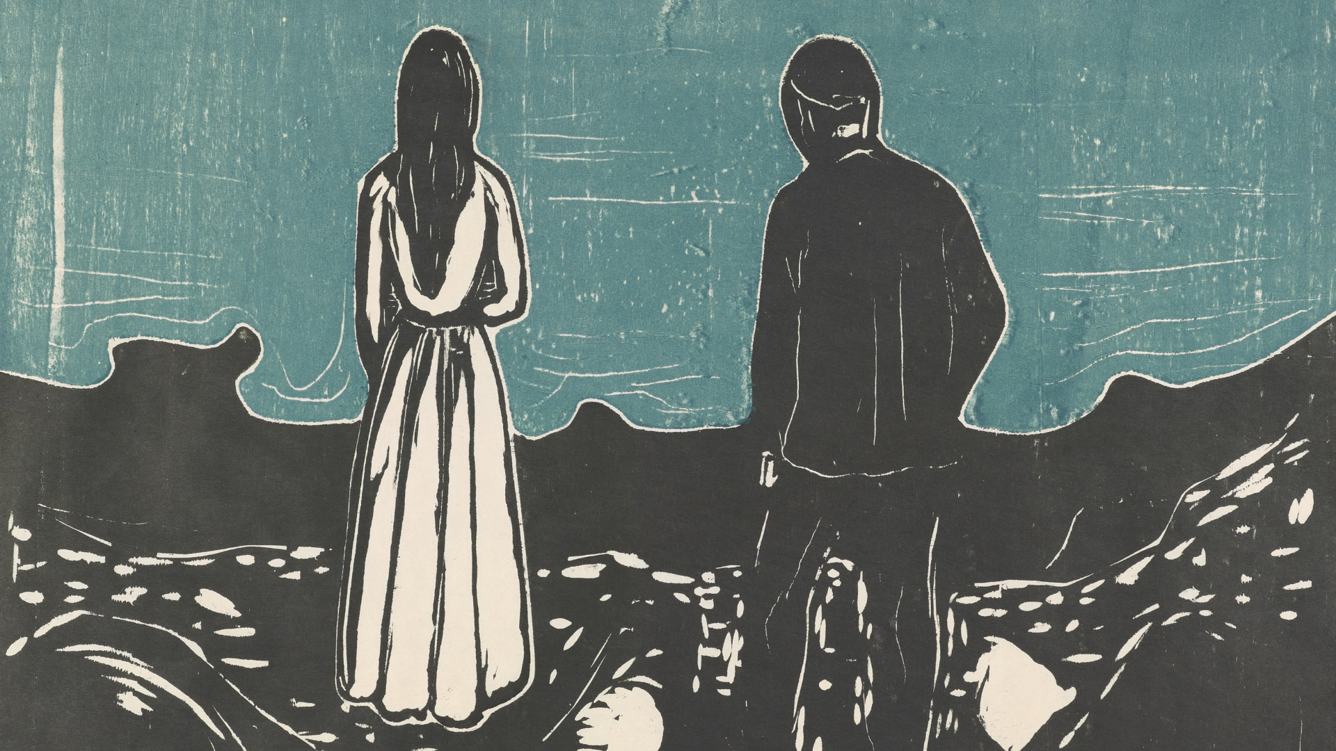 The Lonely Ones by Munch as part of the Edvard Munch: Love and Angst exhibition at the British Museum