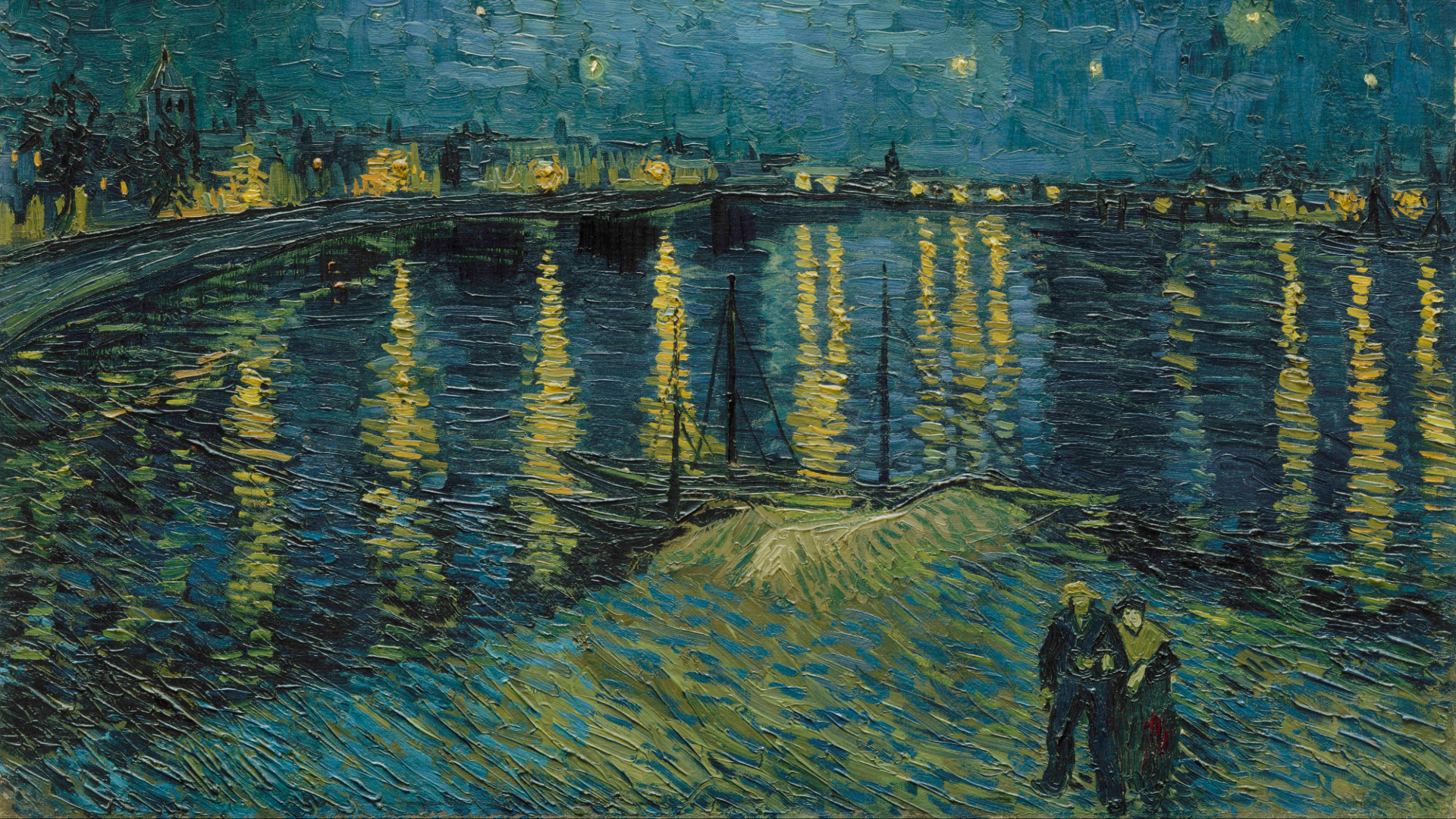 Starry Night on the Rhône by Van Gogh as part of the Van Gogh and Britain exhibition at Tate Britain