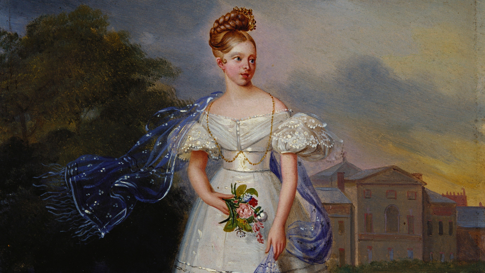 Painting of a young Queen Victoria in a white dress as part of Victoria 2019 exhibition at Kensington Palace