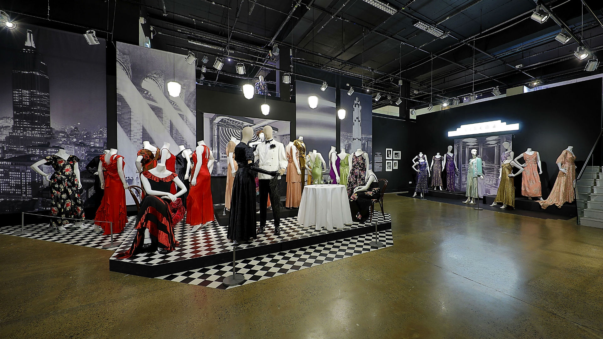 Photographs and garments from Night and Day exhibition at the Fashion and Textile Museum
