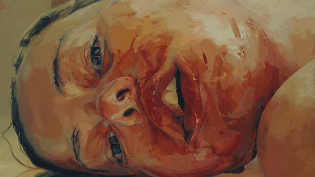 Detail of a portrait of a girl by Jenny Saville