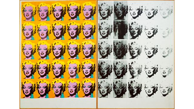 A repeated motif of Marilyn Monroe's face is shown in brightly coloured variations on the left and in greyscale on the right.
