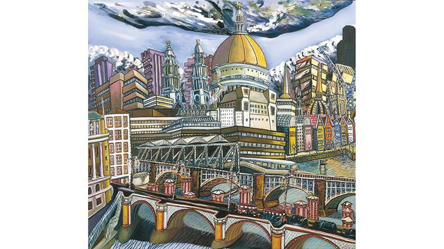 A painting of St Paul's Cathedral and Blackfriars Bridge, looking across from the south side of the Thames.