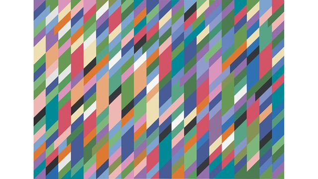 A geometric painting by Bridget Riley featuring many  colourful quadrilaterals.