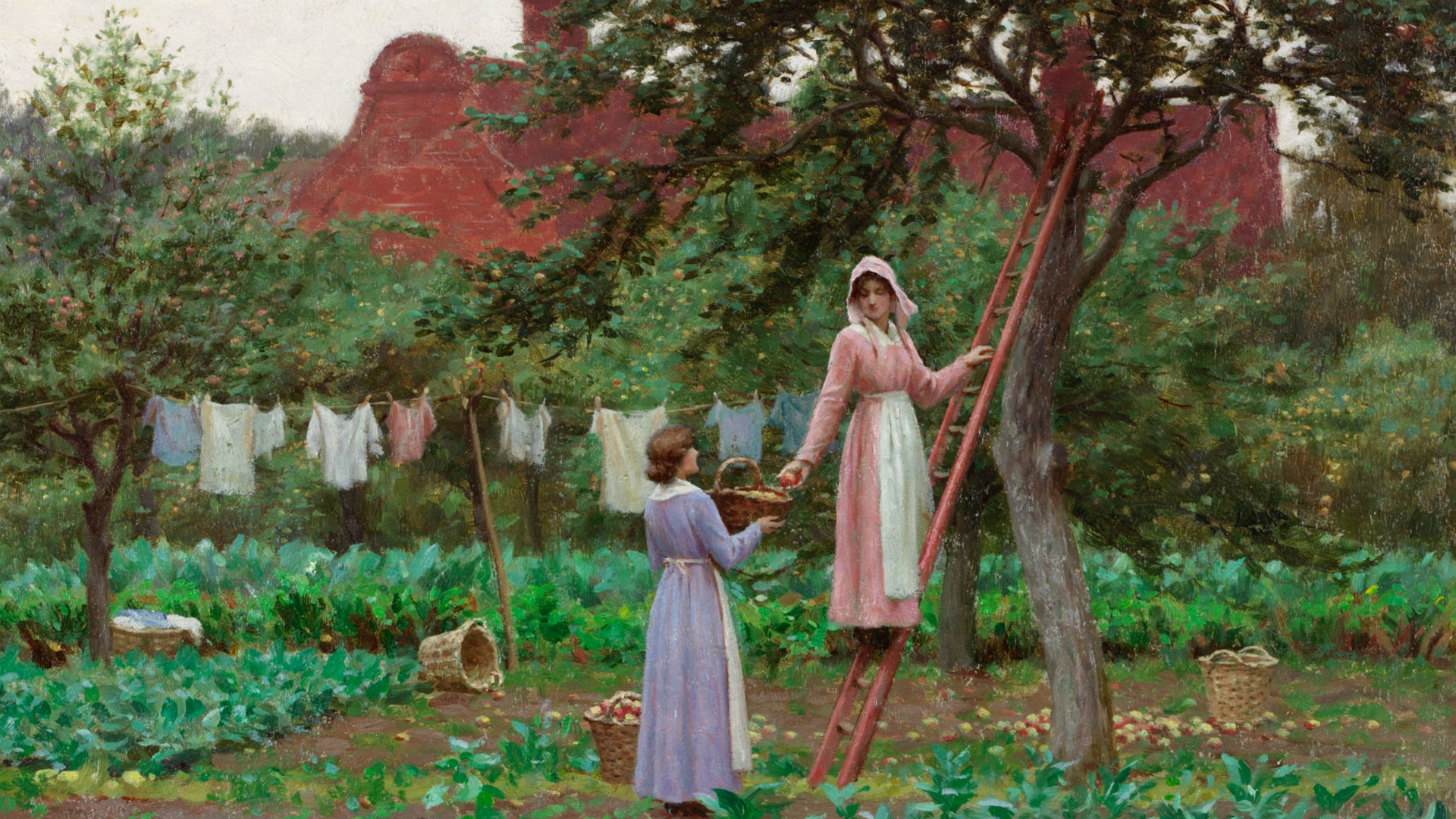 Two women in a garden by Edmund Blair Leighton as part of The Enchanted Garden exhibition at William Morris Gallery
