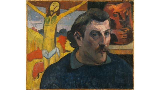 A self-portrait of Paul Gauguin with Christ in the background.