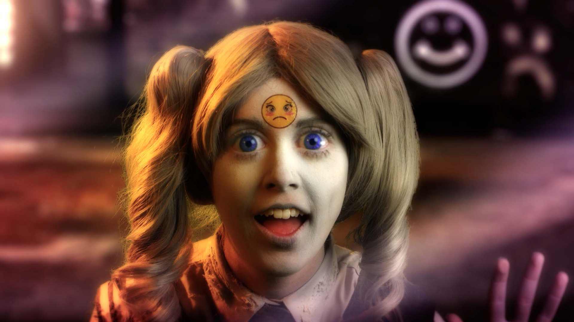 Young girl with big eyes in film Feed Me