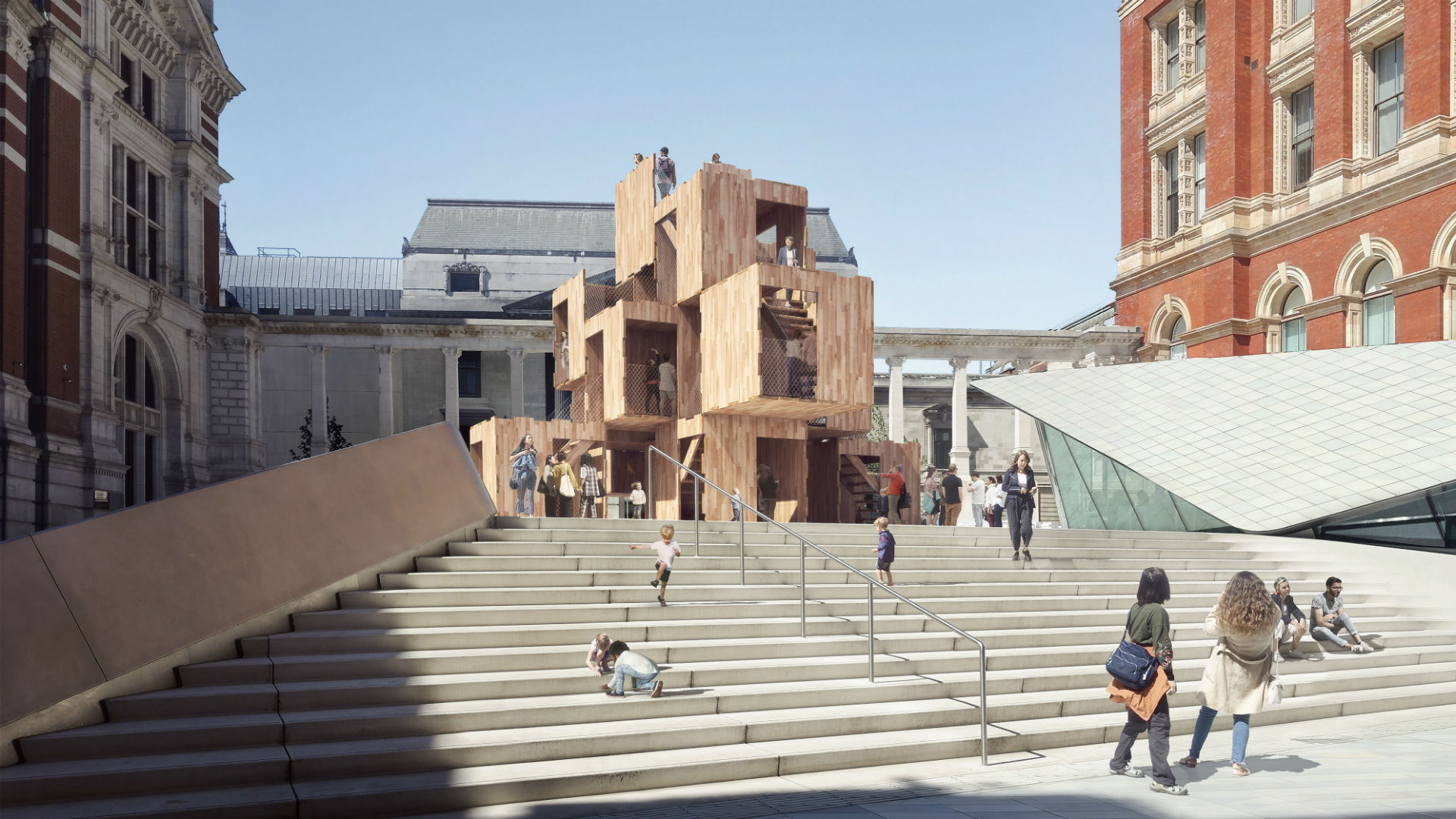 MultiPly installation by Waugh Thistleton Architects is displayed in the sunshine at the top of a set of steps