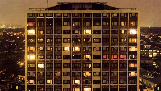 Rut Blees Luxemburg's image: London A Modern Project, 1995, which shows a tower block illuminated at night.