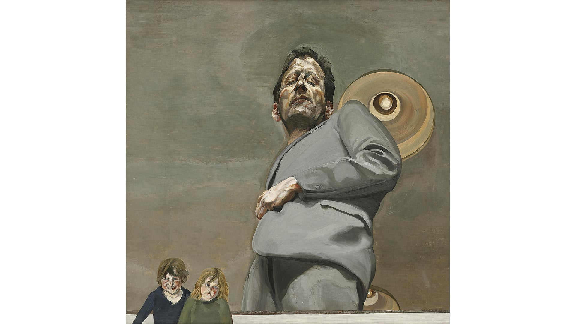A self-portrait of Lucian Freud, looking up at the artist, with two small children in the bottom left.