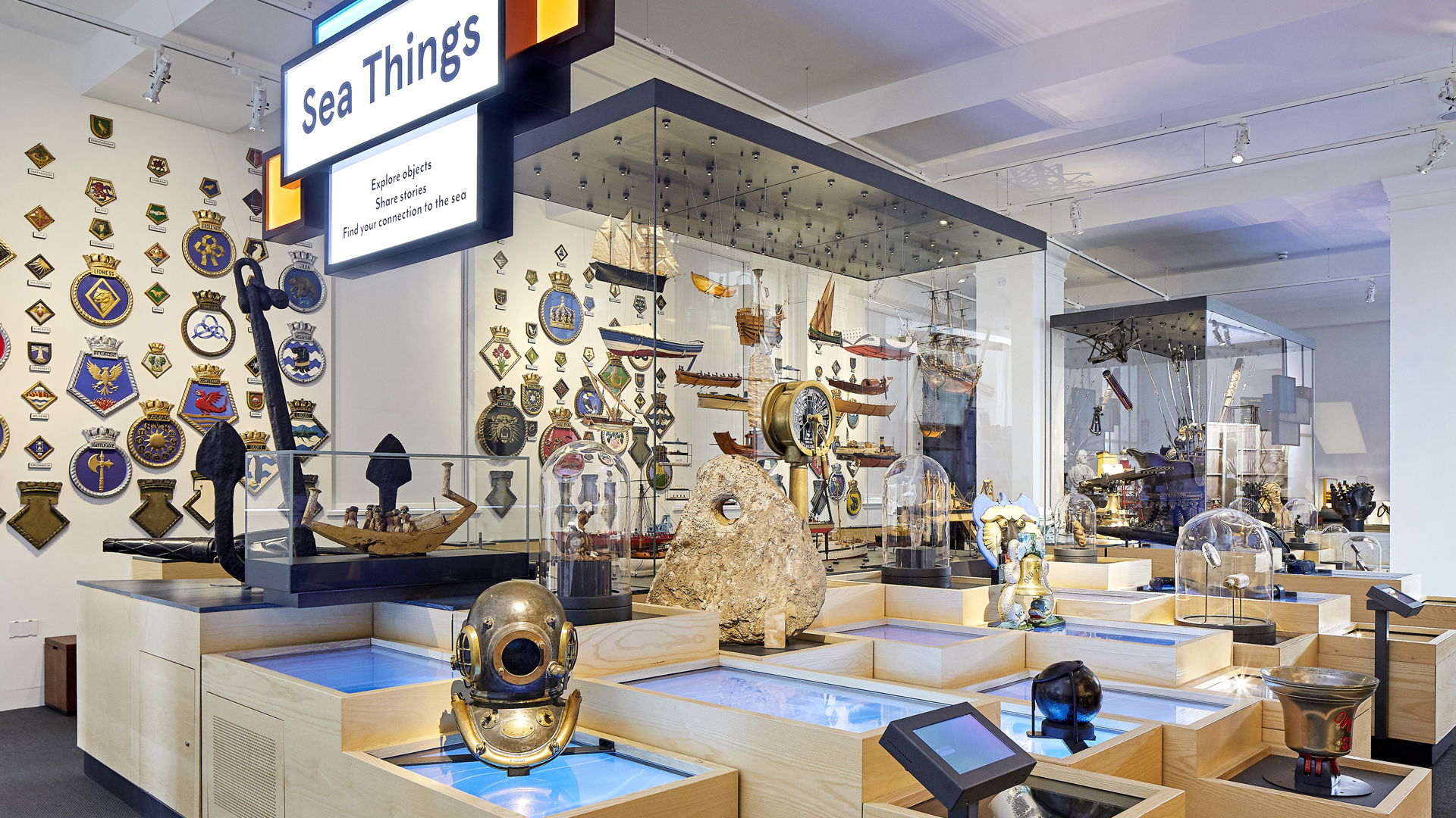 Various objects connected with the sea at the National Maritime Museum