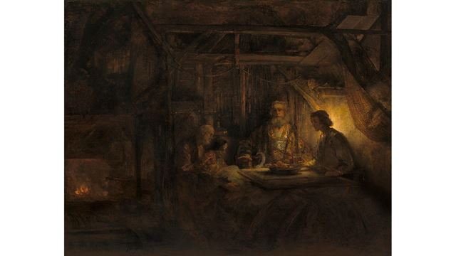 Rembrandt van Rijn's painting, Philemon and Baucis, showing four people gathered around a table, with a swan and a burning fire.