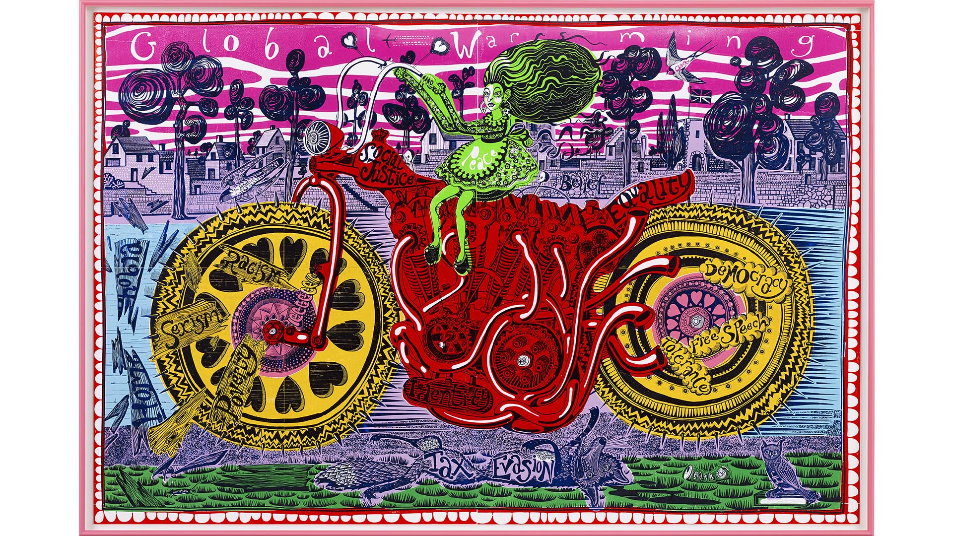 Grayson Perry Selfie with Political Causes artwork