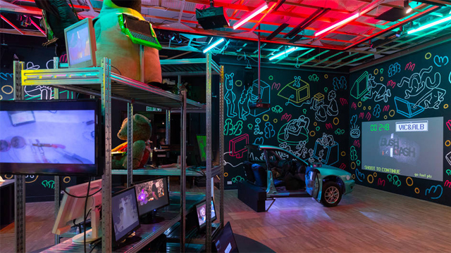 Sawn in half car controller in video games installation at the V&A