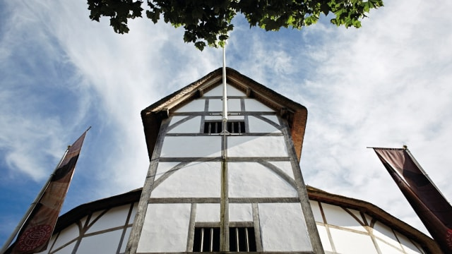 The Shakespeare's Globe building from a low angle.