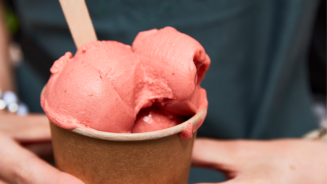 A tub of raspberry ice cream from the Petersham Nurseries in Covent Garden.