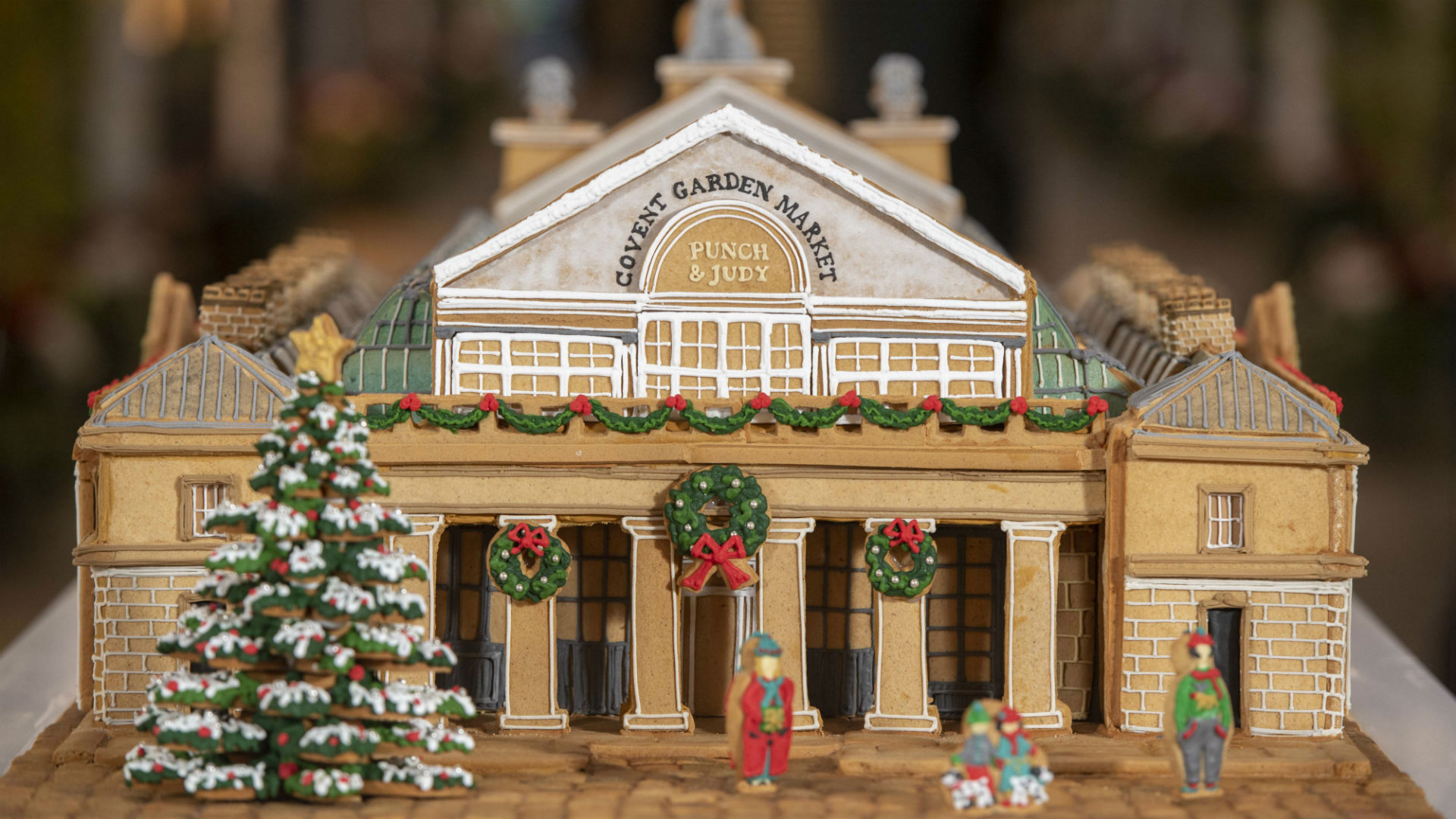 The giant, beige-coloured gingerbread version of Covent Garden's Market Building created by the Biscuiteers.