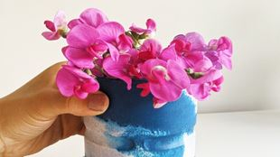 A hand holding a blue and white plant pot with pink flowers inside.