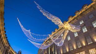 Angel-like Christmas decorations lighting up Regent Street.